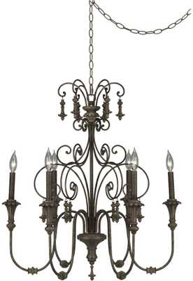 "Scrolled Tiers 28"" Wide Beige Accents Bronze Chandelier - Lamps Plus"