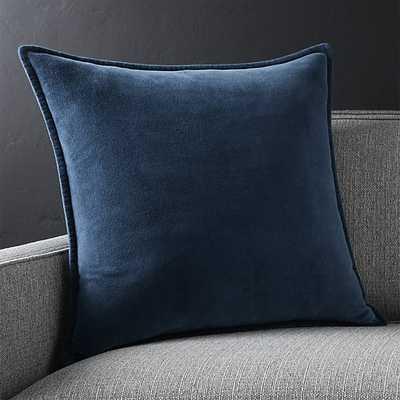 """Brenner Indigo Blue 20"""" Velvet Pillow with Down-Alternative Insert. - Crate and Barrel"""