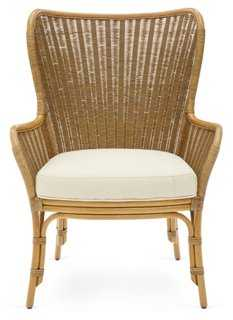Lara Rattan Wingback Chair, Nutmeg - One Kings Lane
