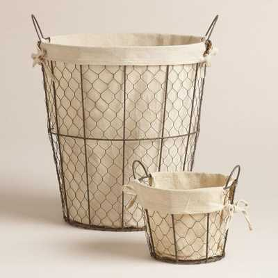 Lined Wire Charlotte Tote Basket - Medium - World Market/Cost Plus