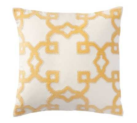 "TRELLIS VELVET APPLIQUÉ PILLOW COVER - Yellow - 20""sq. - No Insert - Pottery Barn"