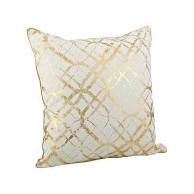 "Lustrous Metallic Foil Print Cotton Throw Pillow, 20""sq., insert - Wayfair"
