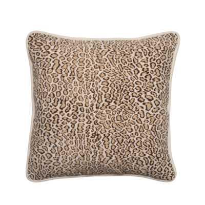 """Faux Fur Leopard Designer Filled Fabric Throw Pillow - 18"""" H x 18"""" W - Polyfill - Wayfair"""