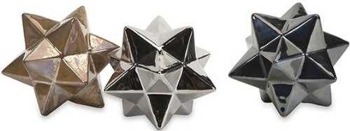 Metallic Stargazer Stars, Set of 3 - High Fashion Home