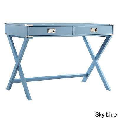 Modern Contemporary Vintage Style Desk - Sky Blue - bonanza.com