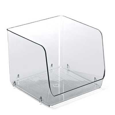 Linus X-Large Open Stacking Bin Clear - containerstore.com