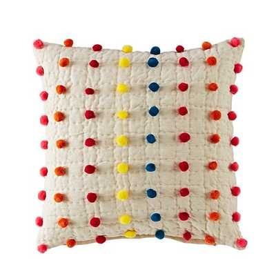 "Pom Pom Pillow Cover-16""x16""- With insert - Land of Nod"