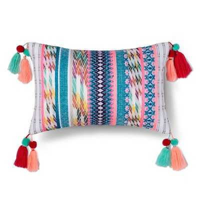 Yarn Dyed Texture Tassel Pillow - White & Multicolor- 18.000L x 12.000W- Polyester fill insert - Target