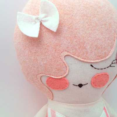 """Primrose 18"""" cloth doll, rag doll, customizable, pink with bow - Etsy"""