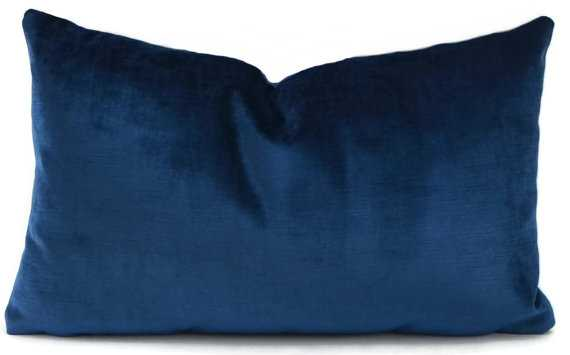 "Sapphire Blue Velvet Lumbar Pillow Cover - 12""x20"" - Insert Sold Separately - Etsy"