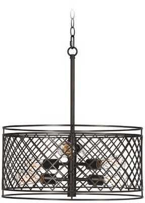 """Metal Lattice 6-Light 20 1/4"""" Wide Bronze Pendant Light - Lamps Plus"""