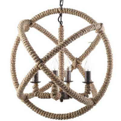 Object Steel and Rope Chandelier - Overstock
