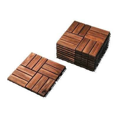 RUNNEN Floor decking, outdoor, brown stained - Ikea