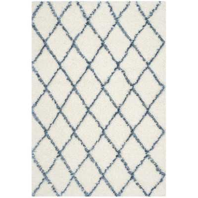 "Moroccan Shag Ivory & Blue Geometric Contemporary Area Rug - 5'1"" x 7'6"" - Wayfair"