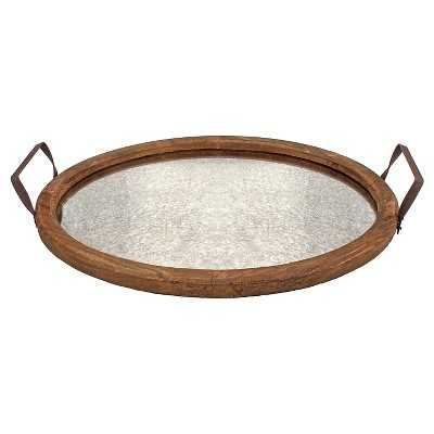 Stonebriar Oval Rustic Wooden Tray with Distressed Mirror - Target