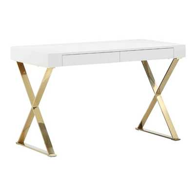 Mason Writting Desk with Drawers - White/Gold - AllModern