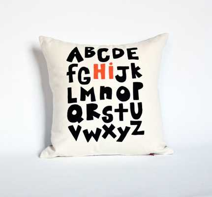 Hi from the Alphabet - pillow, 14x14 - insert included - Etsy