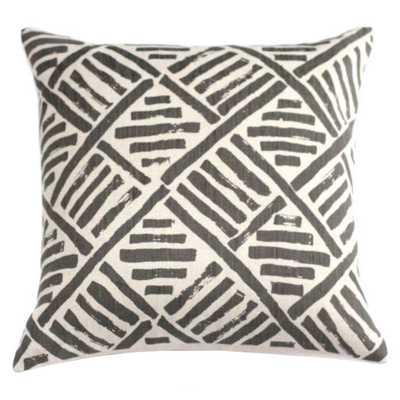 "Brush Stroke Pillow Grey - 18""x18"" - Down insert - Domino"