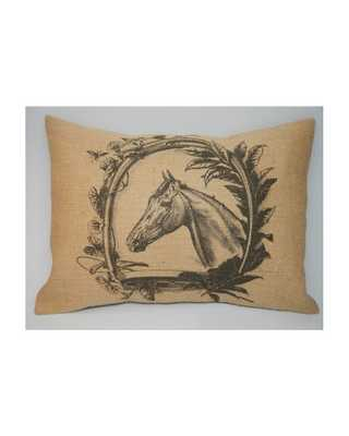 """Vintage Horse Shoe Wreath Burlap Pillow - 12"""" x 16"""" - Insert Included - countryoutfitter.com"""