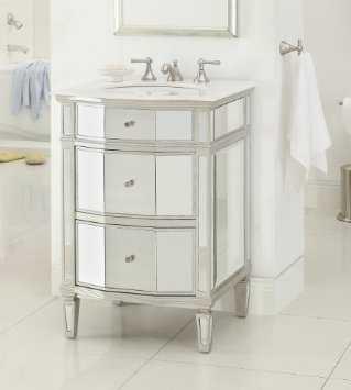 "24"" All Mirror Petite Bathroom Sink Vanity, Ashlie Model - Houzz"