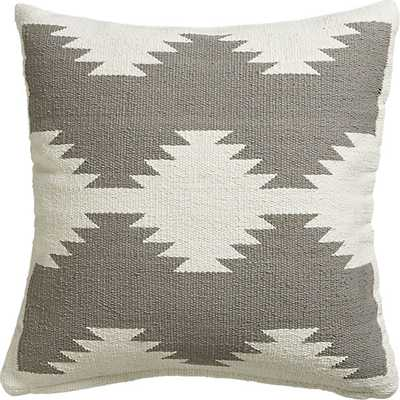 Tecca pillow -White on grey-  18x18 - With Insert - CB2