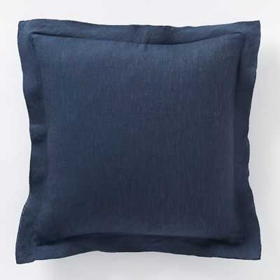 "Belgian Flax Linen Pillow Cover - Midnight - 18""sq. - Insert Sold Separately - West Elm"