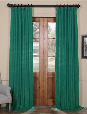 "Teal Hand Weaved Cotton Curtain - 108""L - halfpricedrapes.com"