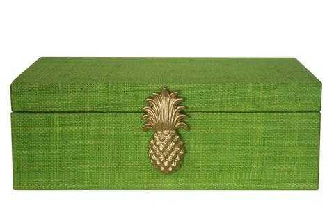 Raffia Pineapple Box - Lime Green - Society Social