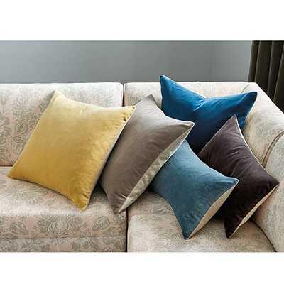 """Signature Velvet & Linen Pillow - Deep Teal - 12""""H X 20""""L - Feather down insert - Ballard Designs"""