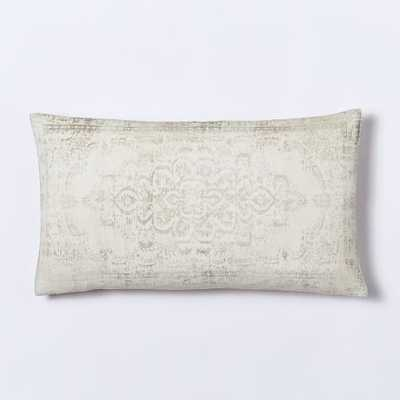 "Velvet Arabesque Pillow Cover - Ivory-12""w x 21""l-without insert - West Elm"