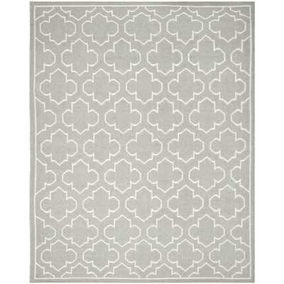 Handwoven Moroccan Reversible Dhurrie Grey Wool Geometric Rug (6' x 9') - Overstock