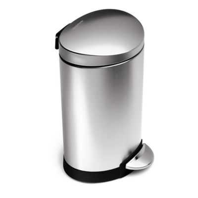 simplehuman® Brushed Stainless Steel Fingerprint-Proof 6-Liter Semi-Round Step Can - Bed Bath & Beyond