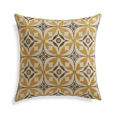 "Elmas 16"" Pillow -Gold and taupe- Down-Alternative Insert - Crate and Barrel"