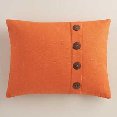 Orange Basket Weave Cotton Lumbar Pillow - World Market/Cost Plus