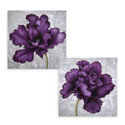 "Plum Flower Wall Art- 12"" x 12"".- Unframed - Bed Bath & Beyond"