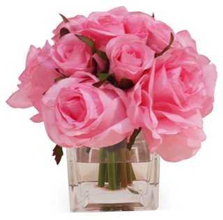 "7"" Rose Bundle in Cube Vase, Faux - One Kings Lane"