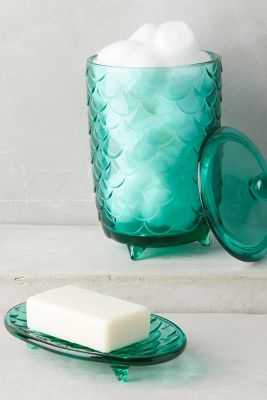 Scalloped Glass Bath Container - Canister - Anthropologie