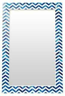 Chevron Wall Mirror, Indigo - One Kings Lane
