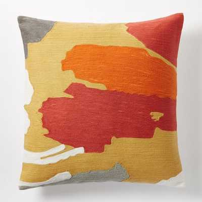 "Modern Brushstroke Crewel Pillow Cover - Horseradish - 20"" x 20"" - Insert sold separately - West Elm"