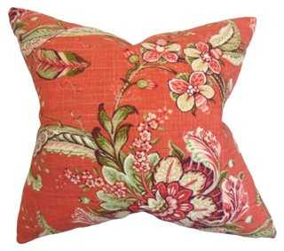 Clarence 18x18 Cotton Pillow, Red,  insert, feather/down - One Kings Lane