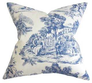 "Global 18x18 Cotton Pillow, Blue/white - 18"" x 18""- Feather/down insert - One Kings Lane"