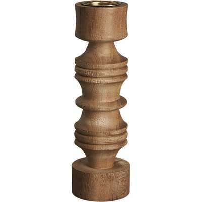 Saal turned wood tall tea light candle holder - CB2