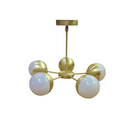 "5 Orb Chandelier-Modern Brass 21"" - Etsy"