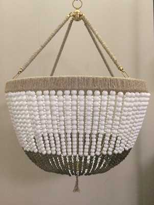 Large White & Grey Beaded Chandelier- Ready to Ship! - Etsy