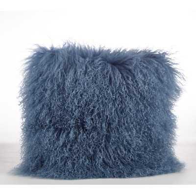 """Mongolian Lamb Fur Wool Throw Pillow-16"""" x 16""""Blue/Gray-Insert - Wayfair"""