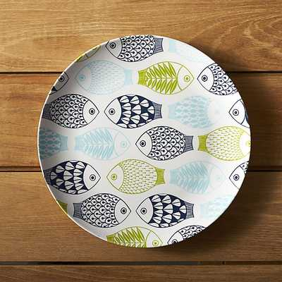 """Fish 10.5"""" Melamine Dinner Plate - Crate and Barrel"""