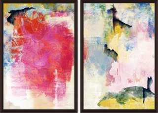 """Colorful Strokes Diptych - 44"""" x 32"""" - Brown frame - No mat - One Kings Lane"""