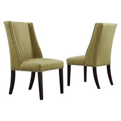 Harlow Wingback Linen Dining Chair with Nailheads - Chartreuse (Set of 2) - Target