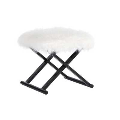 Bombay Outlet Devina Faux Fur Metal Ottoman - Overstock