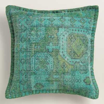 "Teal Overdyed Cotton Throw Pillow, 18""Sq., polyester insert - World Market/Cost Plus"